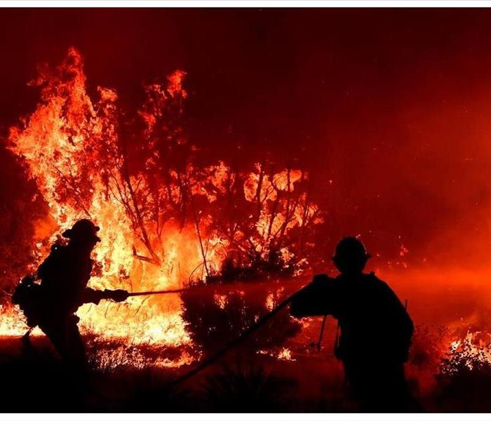 Fire fighters attempt to quench the flames of a roaring inferno
